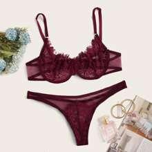 Contrast Lace Sheer Mesh Underwire Lingerie Set