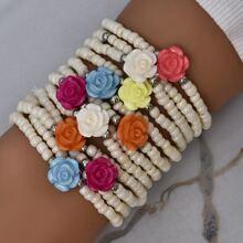 12 Stuecke Armband mit Blumen Dekor