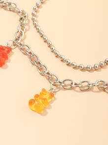 Multicolored Bear Layered Wallet Chain