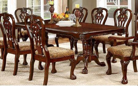 Elana Collection CM3212T-TABLE 72 - 90 Extendable Dining Table with Double Pedestal Base and 18 Expandable Leaf in Brown Cherry