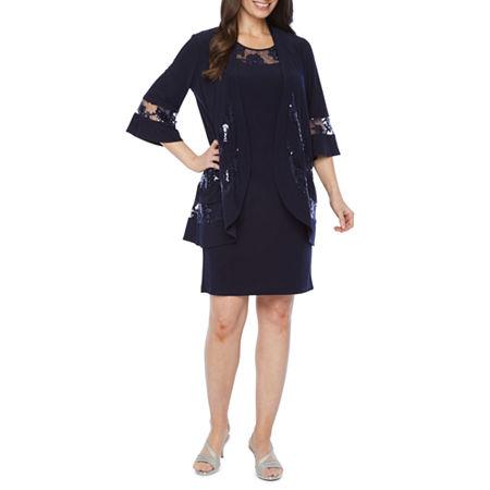 R & M Richards 3/4 Bell Sleeve Jacket Dress, 6 , Blue
