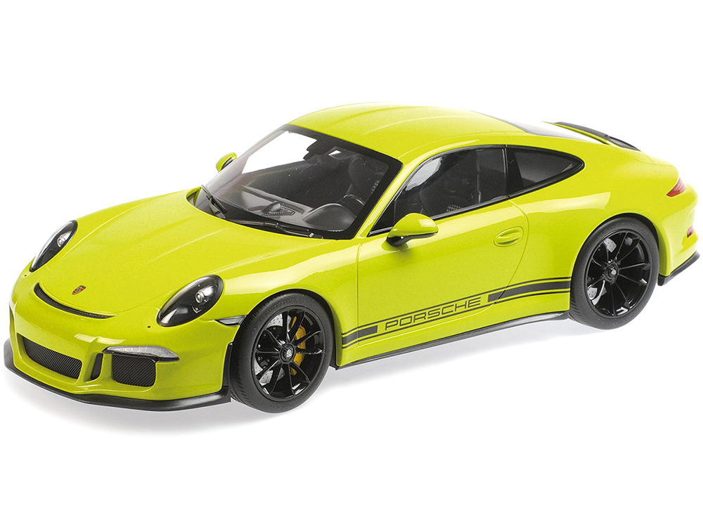2016 Porsche 911 R Light Green with Black Wheels and Black Writing 1/12 Diecast Model Car by Minichamps