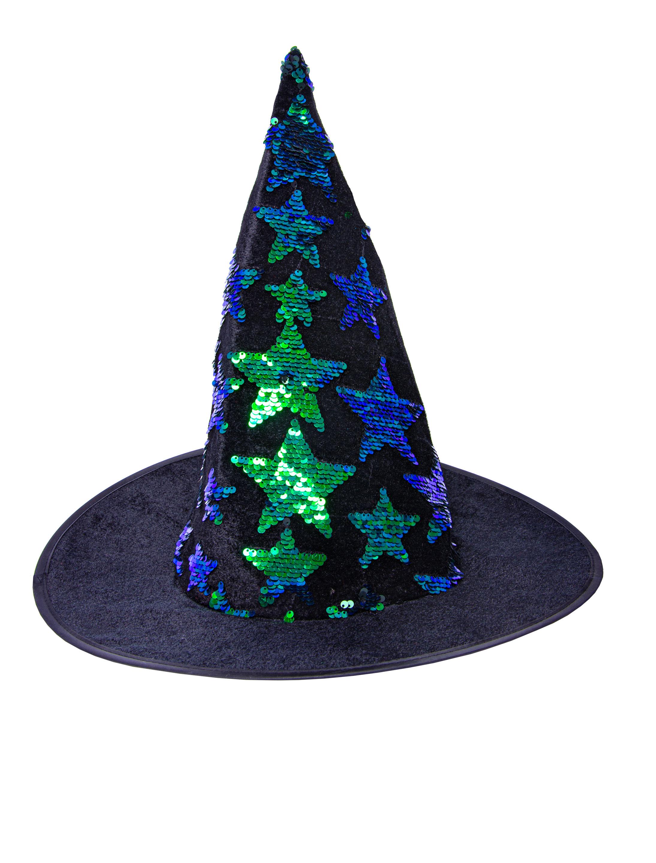 Kostuemzubehor Hexenhut schwarz mit blau/gruenen Paillettensternen