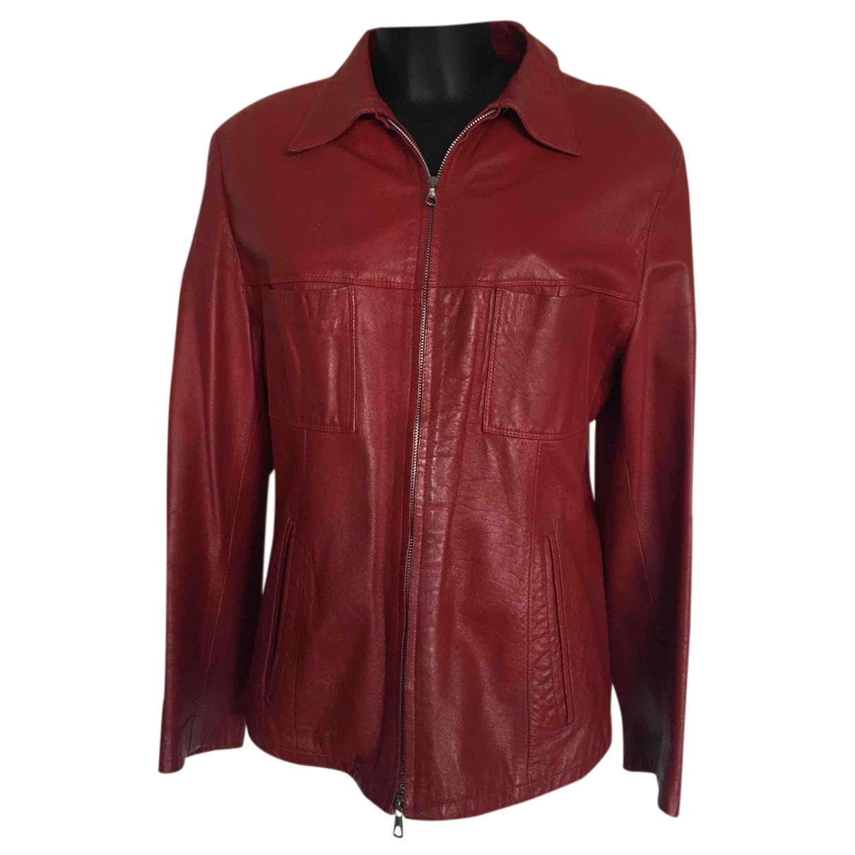 Non Signé / Unsigned N Red Leather jacket for Women 50-52 IT