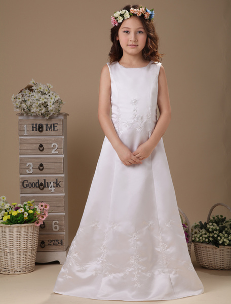 Milanoo White Floor Length Zip Closure Satin First Communion Dress