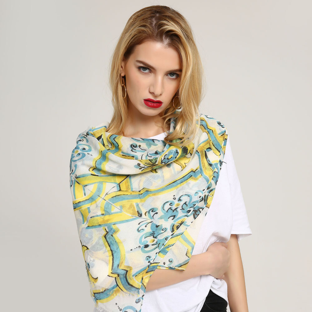 Womens Ethnic Style Printing Cotton Linen Blend Long Scarf Sunshade Beach Soft Scarves Shawls