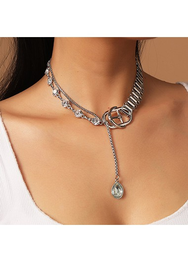 Mother's Day Gifts Silver Rhinestone Detail Metal Chain Punk Necklace - One Size