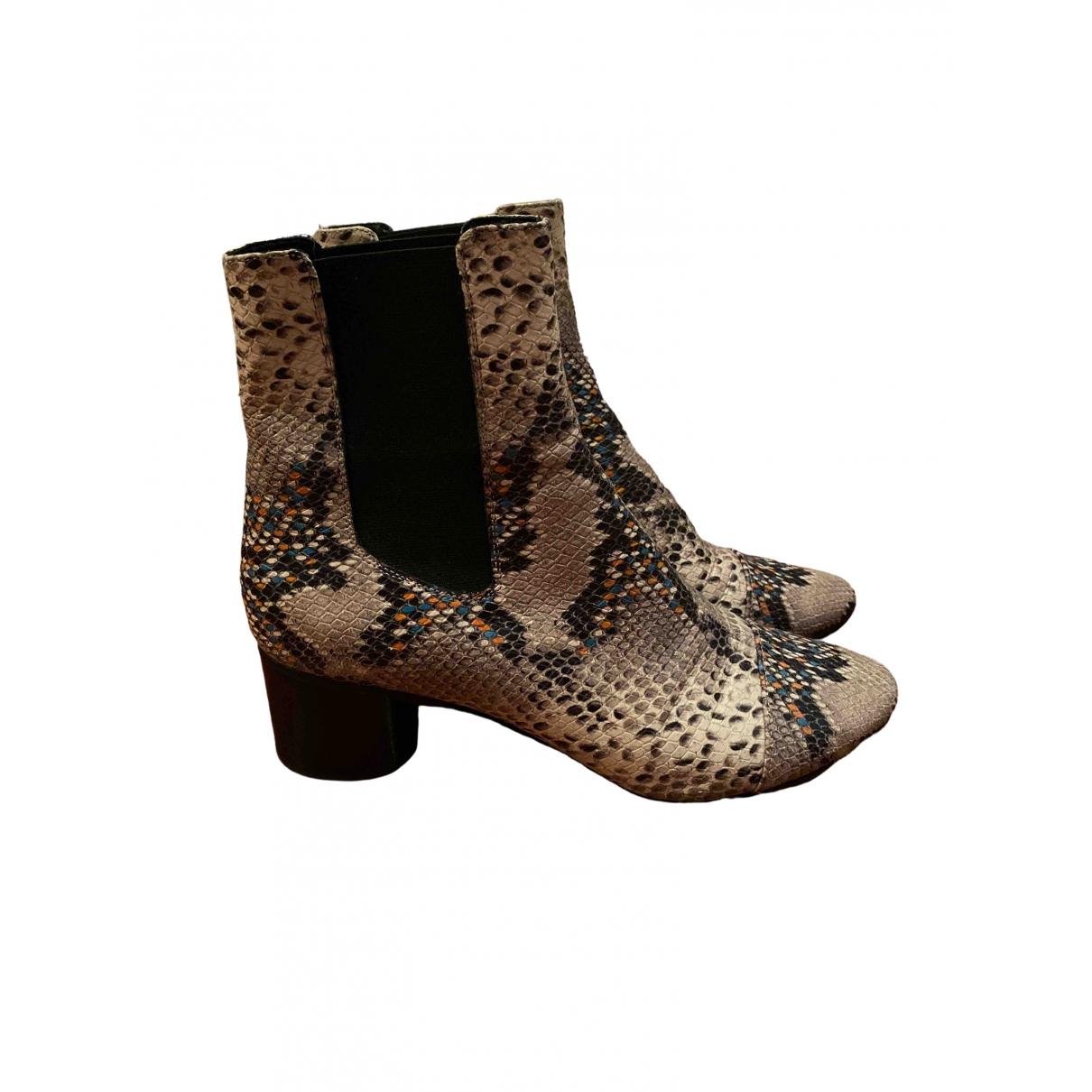 Isabel Marant - Boots Danae pour femme en cuir - beige