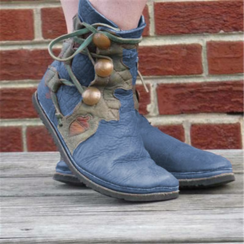 Plus Size Women Retro Comfy Round Toe Pu Leather Strappy Flat Short Boots