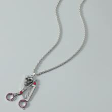 Collar de hombres con diseño de tijeras con diamante de imitacion