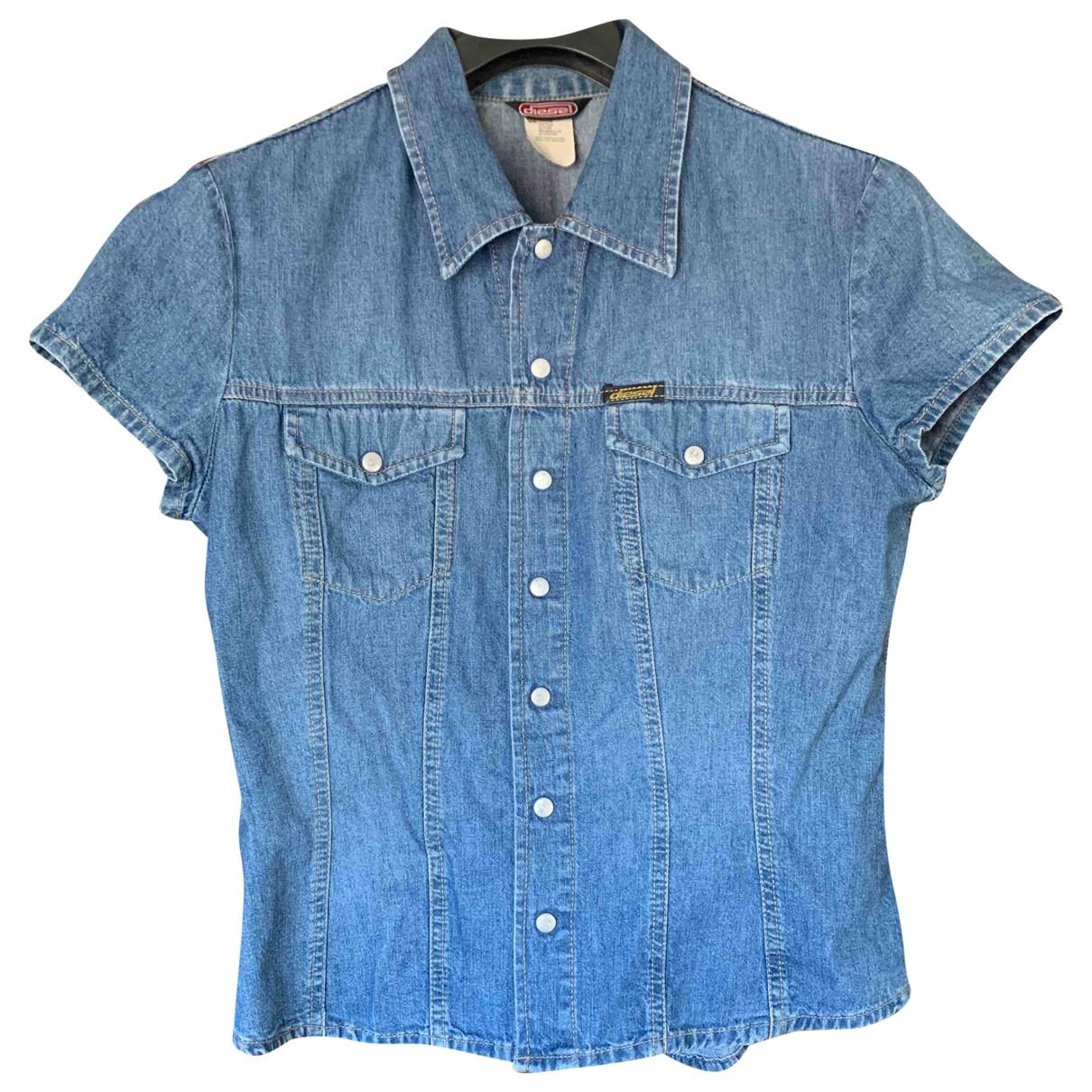 Diesel - Top   pour femme en coton - bleu