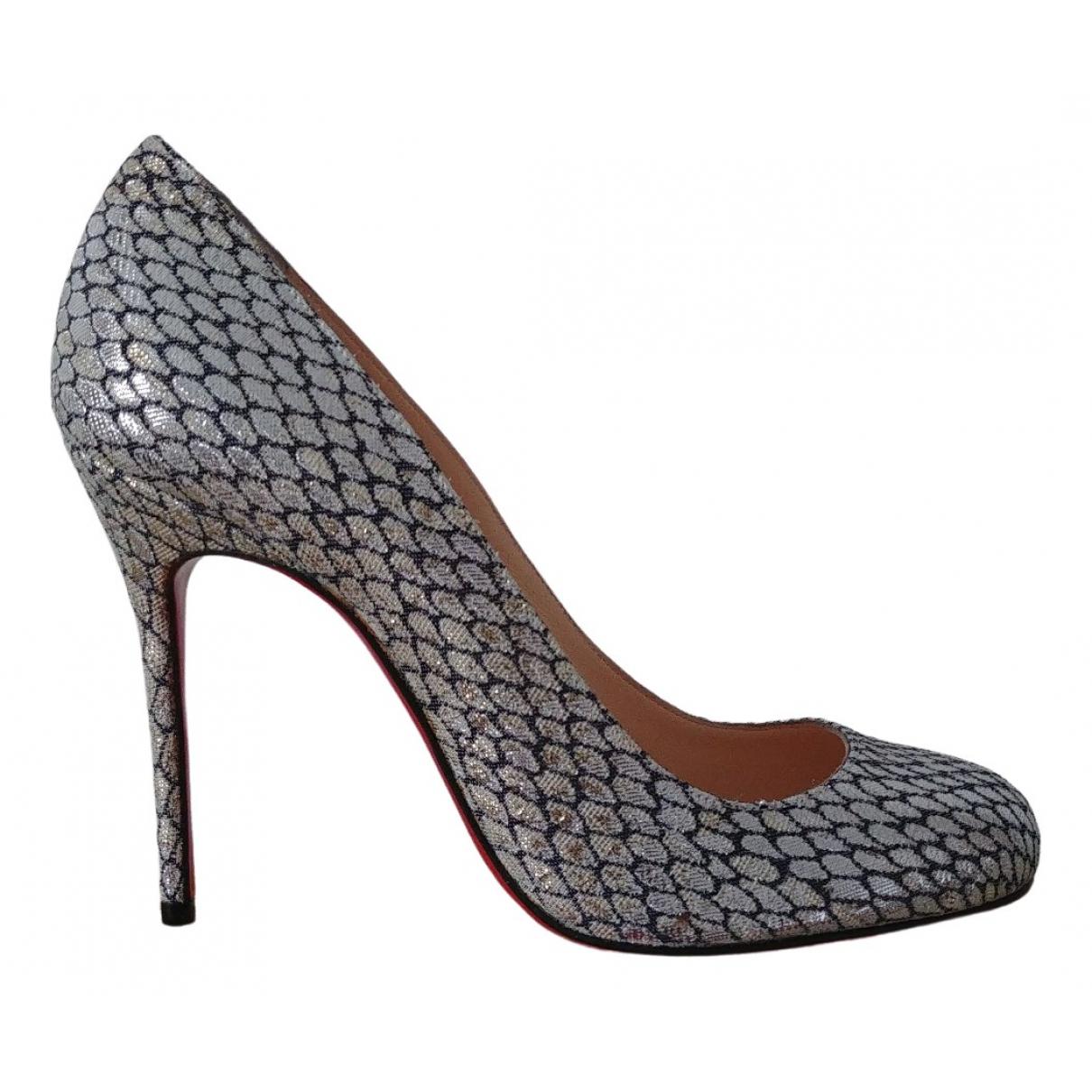 Christian Louboutin Fifi  Silver Cloth Heels for Women 37 EU