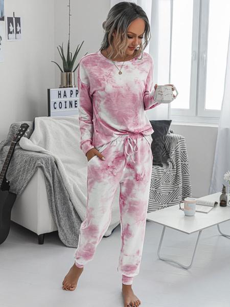 Milanoo Women\'s Loungewear 2-Piece Pink Long Sleeve Polyester Cotton Outfit Home Wear