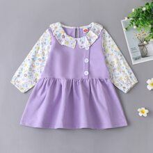 Baby Girl Ditsy Floral Colorblock Smock Dress