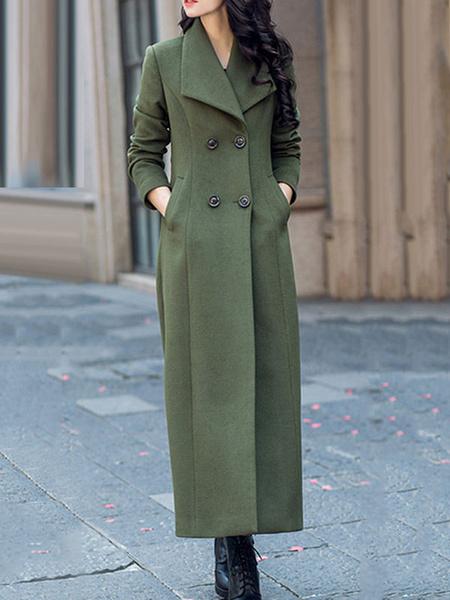 Milanoo abrigo mujer larga Gris con manga larga de cuello vuelto de lana Moda Mujer Color liso con botones Normal estilo retro Invierno Chaquetas