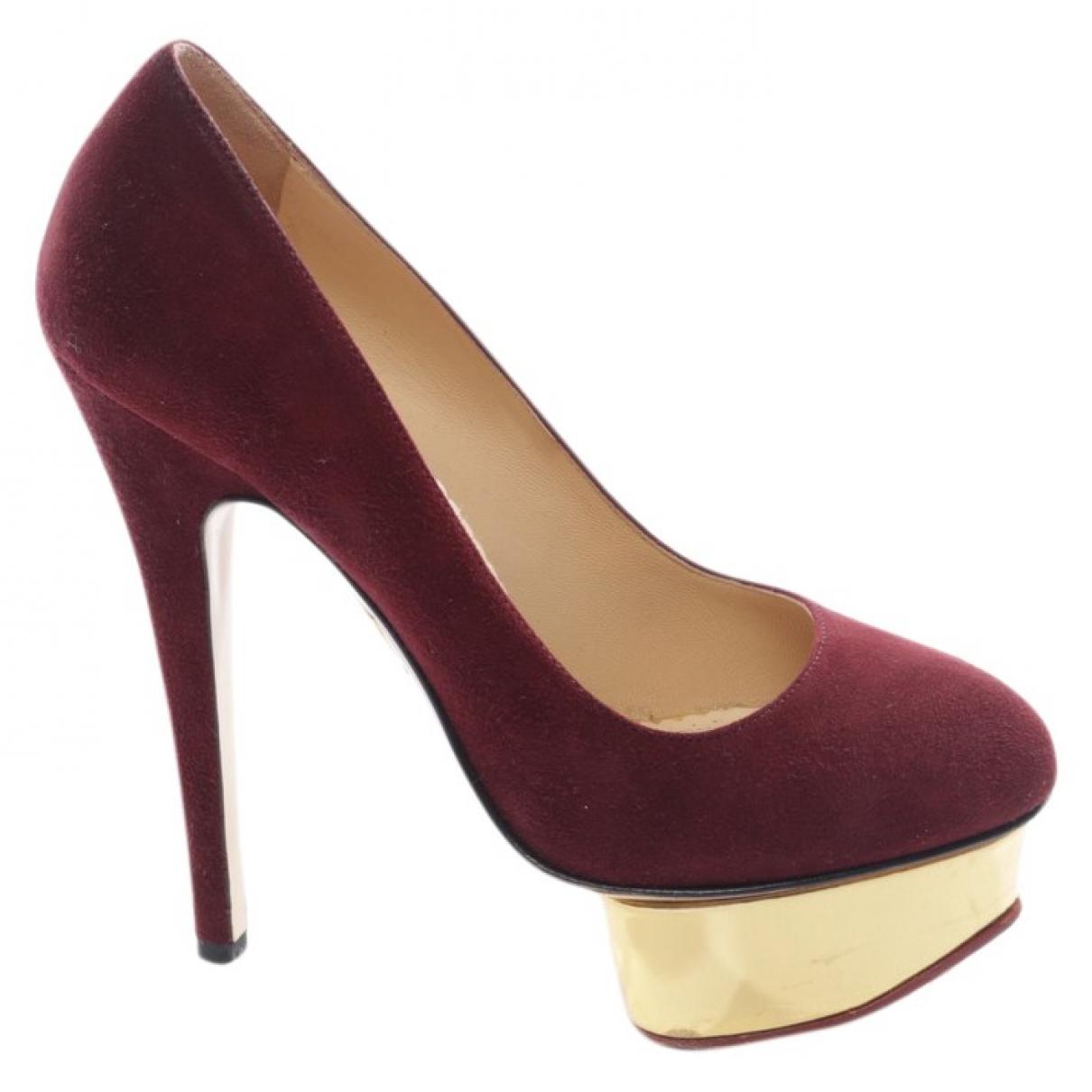Charlotte Olympia - Escarpins   pour femme en suede - rouge