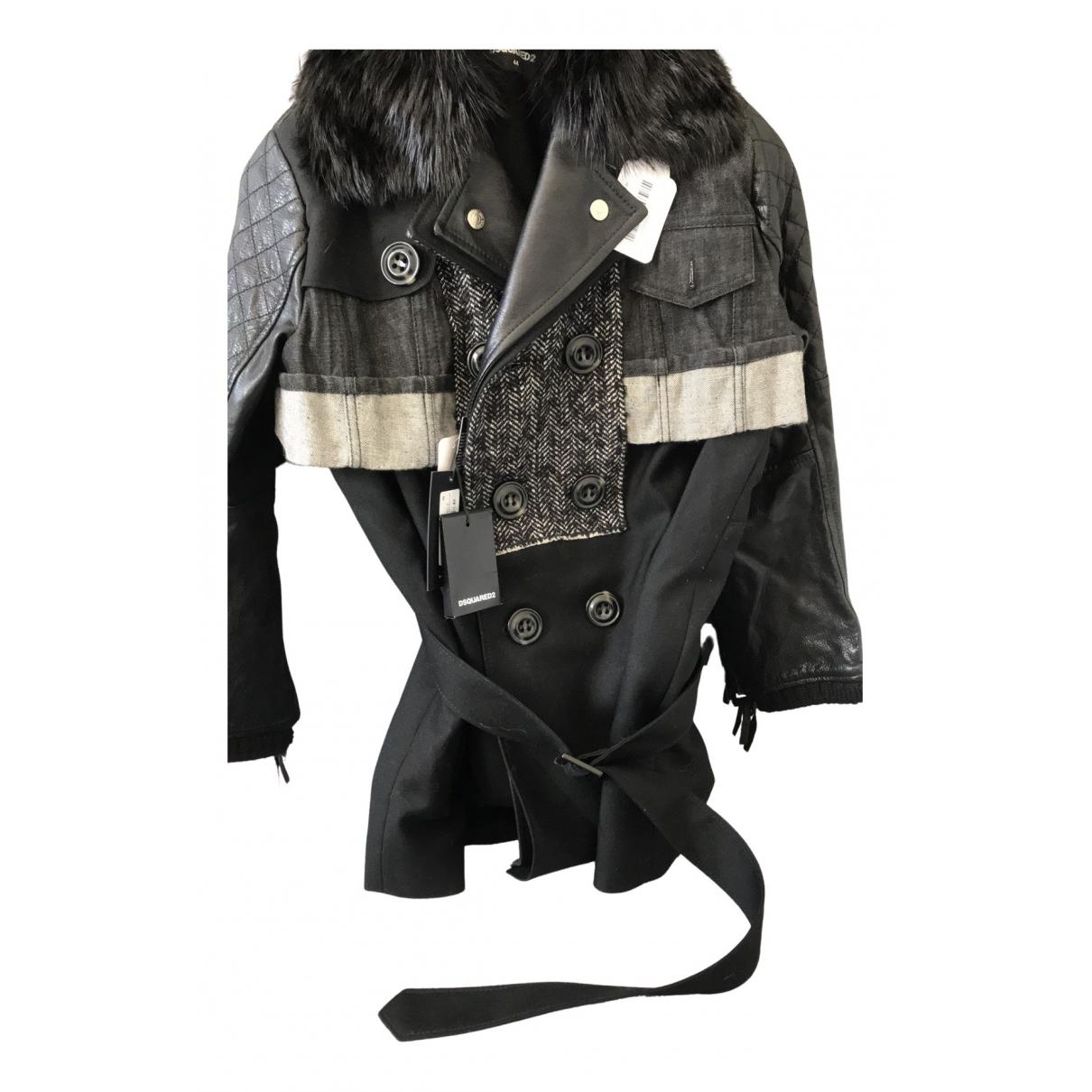 Dsquared2 N Black Wool coat for Women 44 FR