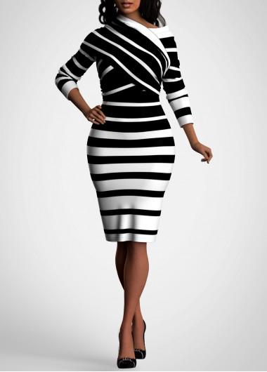 Black Dresses Striped Black Long Sleeve Bodycon Dress - S