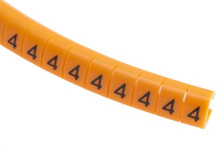 RS PRO Snap On Cable Marker, Pre-printed 4 Black on Orange 4 → 5mm Dia. Range