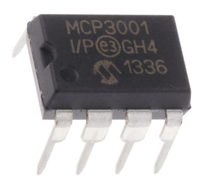 Microchip MCP3001-I/P, 10-bit Serial ADC Pseudo Differential Input, 8-Pin PDIP (3)