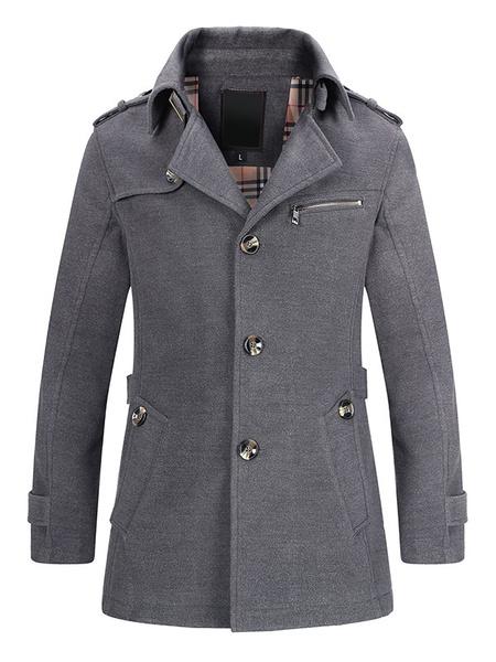 Milanoo Black Trench Coat PLus Size Men's Back Strap Long Sleeve Casual Winter Overcoat