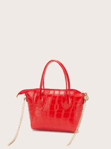 Croc Embossed Chain Satchel Bag