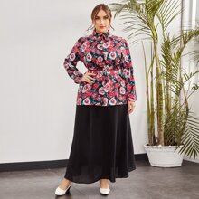 Plus Allover Floral Blouse & Skirt Without Belt