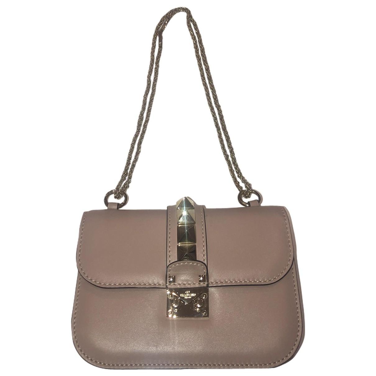 Valentino Garavani Glam Lock Handtasche in  Beige Leder