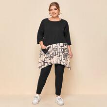 Plus Geo Print Pocket  Asymmetrical Hem Tunic Top & Leggings