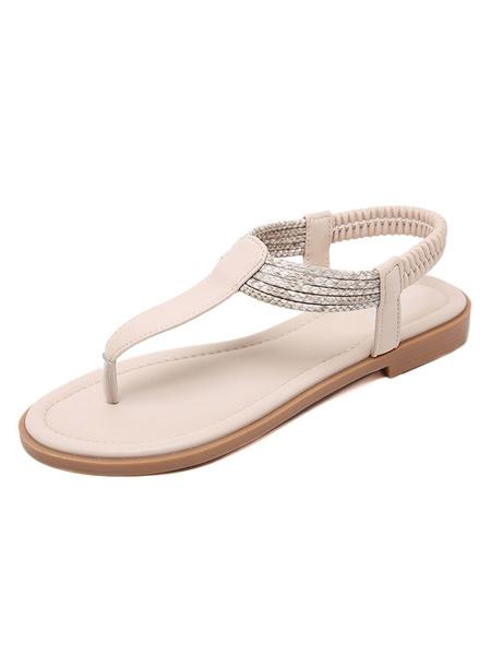 Milanoo Flat Sandals For Women Flat PU Leather Casual Thong Women\'s Flats