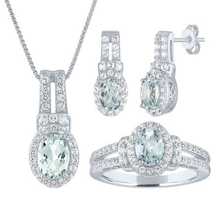 Genuine Blue Aquamarine Sterling Silver 3-pc. Jewelry Set, 6 , No Color Family
