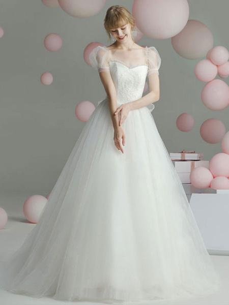 Milanoo Vestido de baile Vestido de novia Princesa Silueta Cuello cariño Mangas cortas Cintura vasca Capilla Tren Vestidos de novia