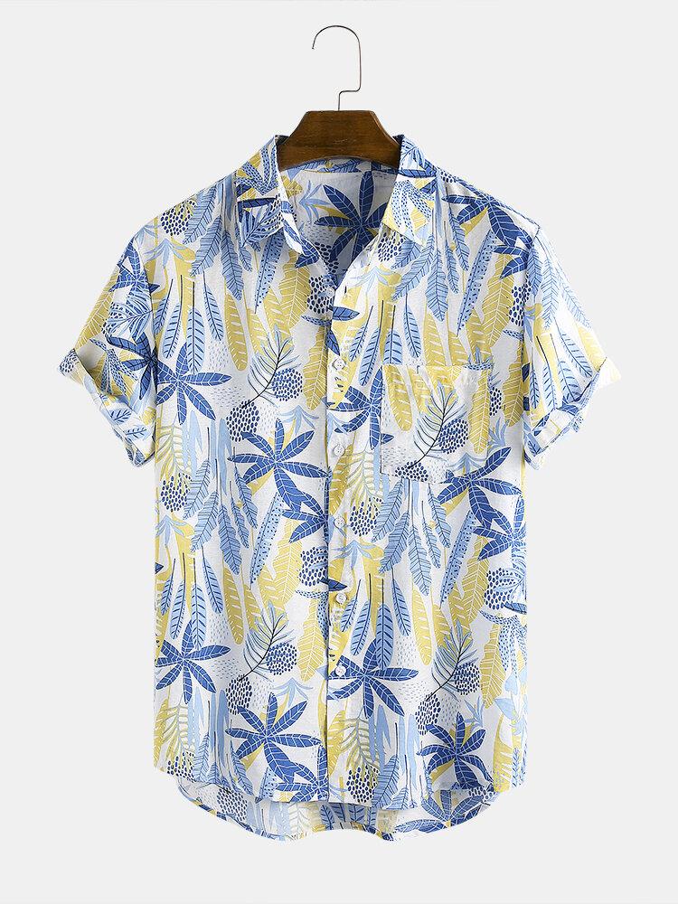Mens Casual Leaf Plant Printed Lapel Collar Short Sleeve Shirts