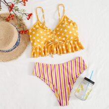 Bikini Badeanzug mit Rueschenbesatz