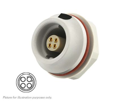 Souriau Circular Connector, 4 contacts Front Mount Socket, Solder IP68