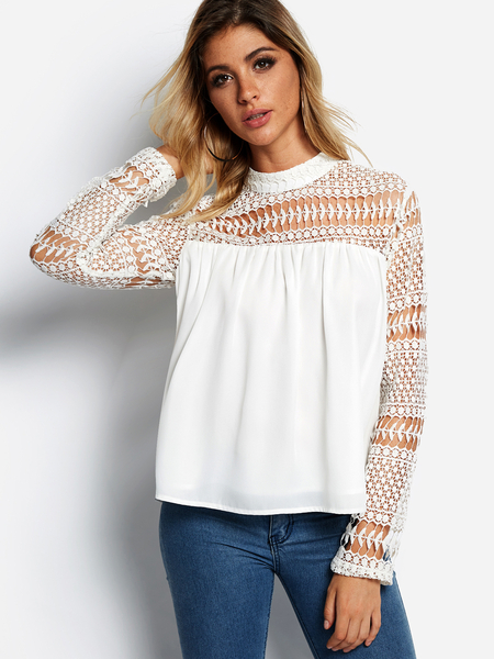 Yoins White Hollow Design Crew Neck Long Sleeves Lace Insert Blouse