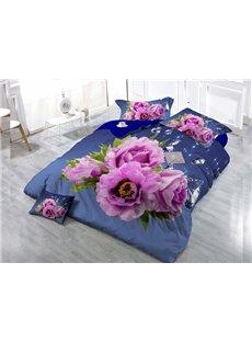 Pink Roses Digital Print 4-Piece Cotton Duvet Cover Set