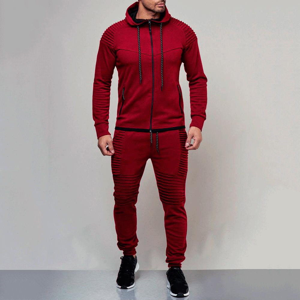 Plain European Style Fall Casual Style Men's Tracksuits
