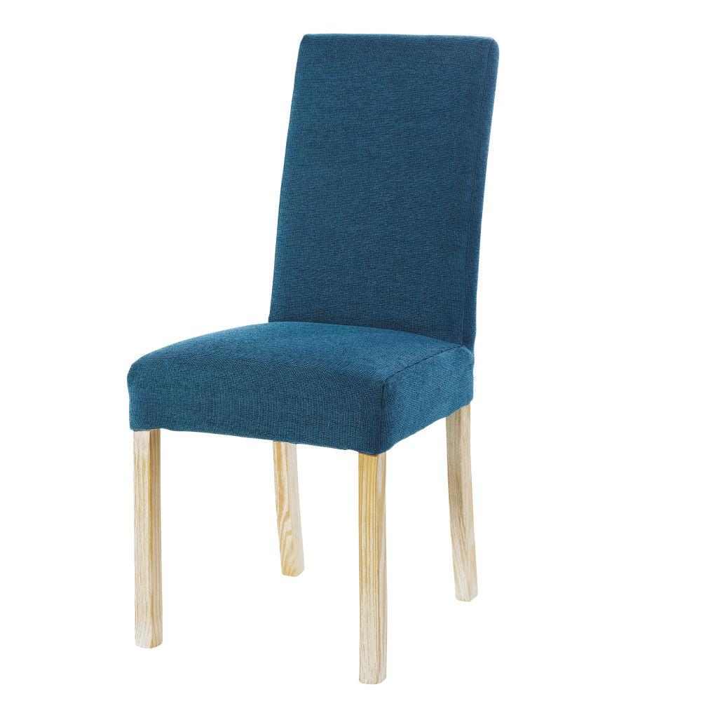 Stuhlbezug aus pfauenblauem Samt