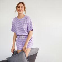 Drop Shoulder Striped Top & Shorts Set