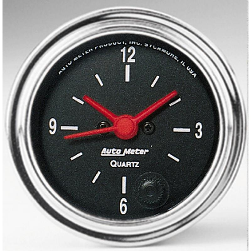 AutoMeter GAUGE; CLOCK; 2 1/16in.; 12HR; ANALOG; TRADITIONAL CHROME
