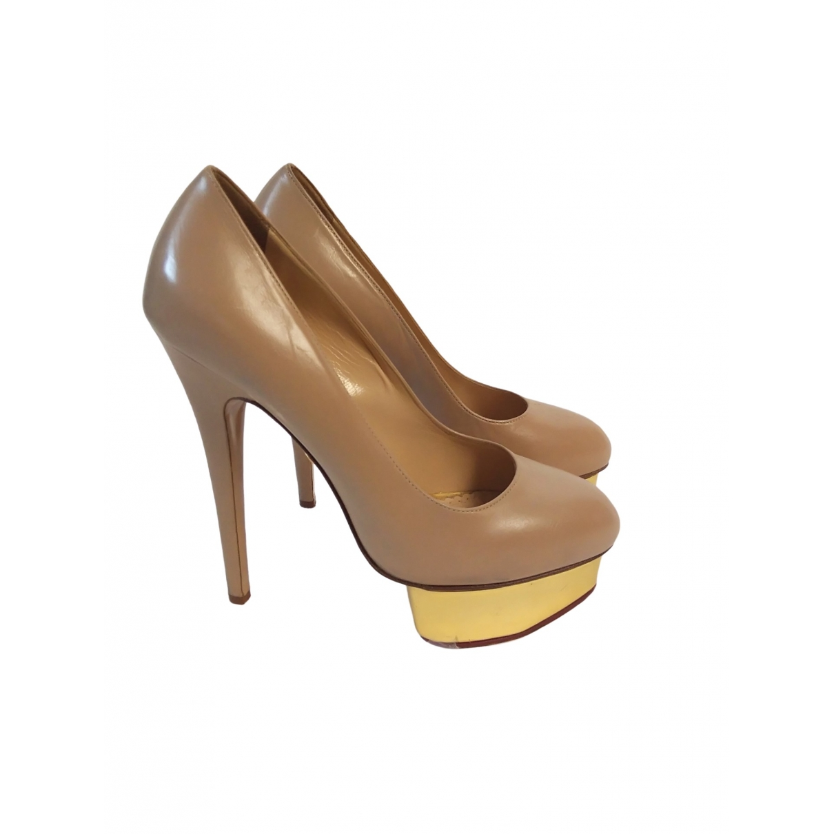Charlotte Olympia Dolly Pumps in  Beige Leder
