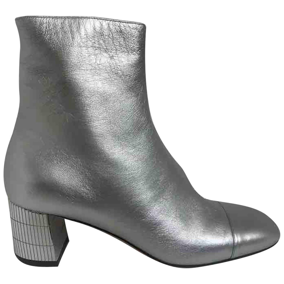 Bally - Boots   pour femme en cuir - argente