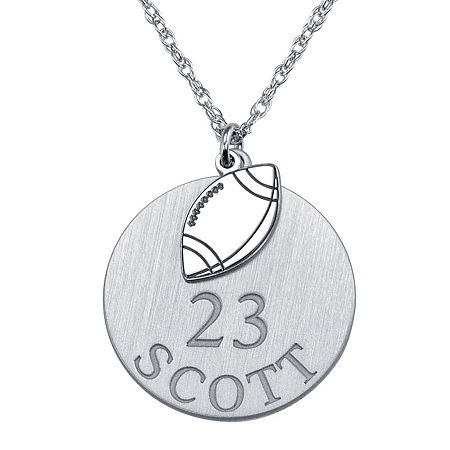 Personalized Football 20mm Pendant Necklace, One Size , White
