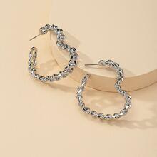 Chain Design Heart Cuff Hoop Earrings