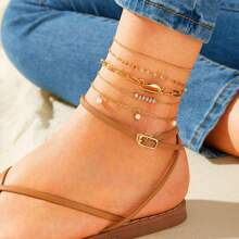 Bead & Shell Decor Chain Anklet 5pcs