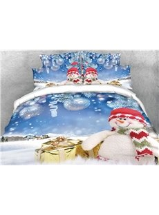 Snowman and Christmas Gifts Silvery Digital Printing Cotton 4-Piece 3D Bedding Sets/Duvet Covers