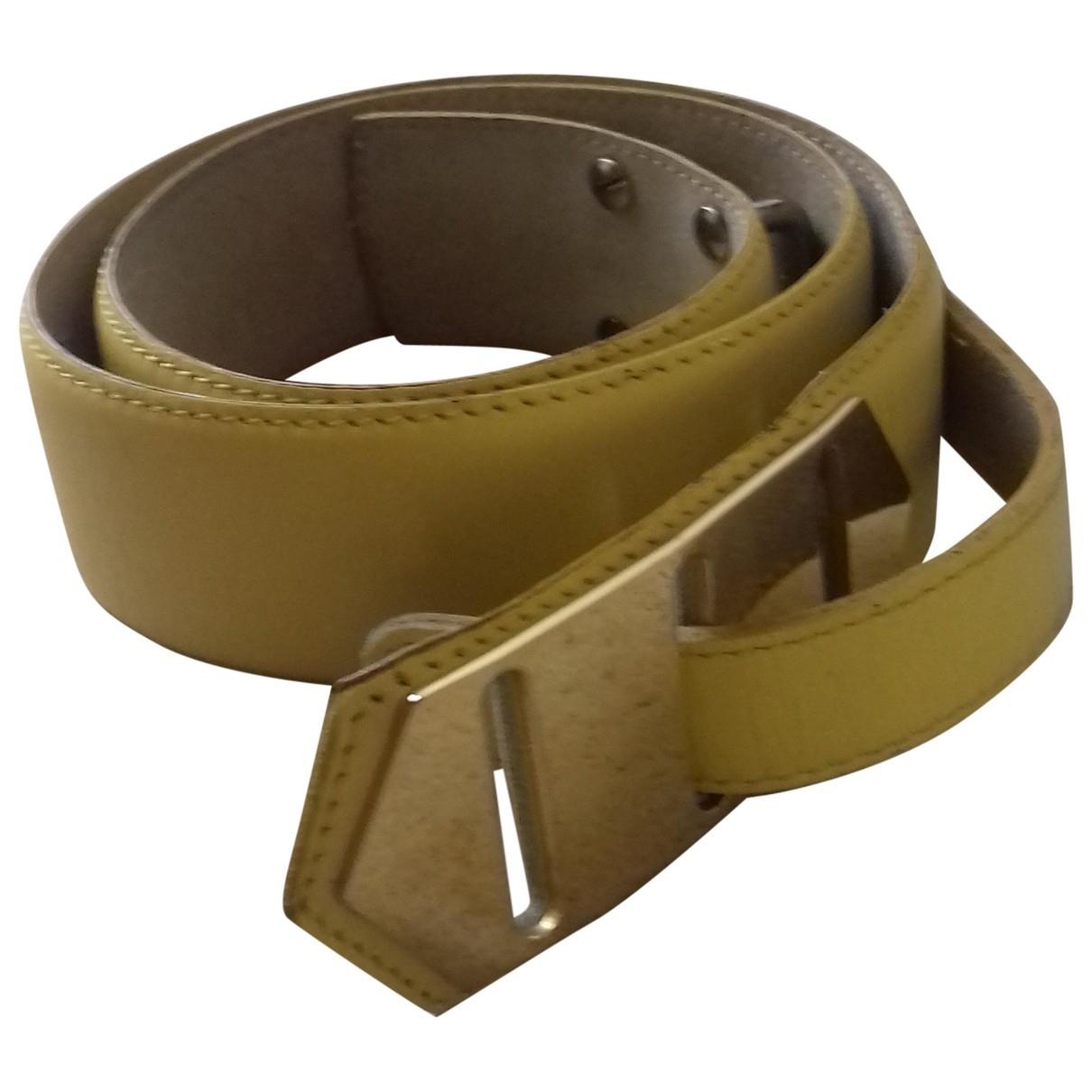 Guy Laroche \N Yellow Leather belt for Women 75 cm
