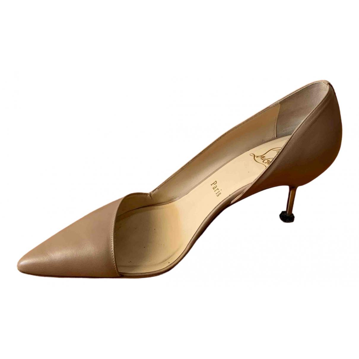 Christian Louboutin - Escarpins   pour femme en cuir - beige