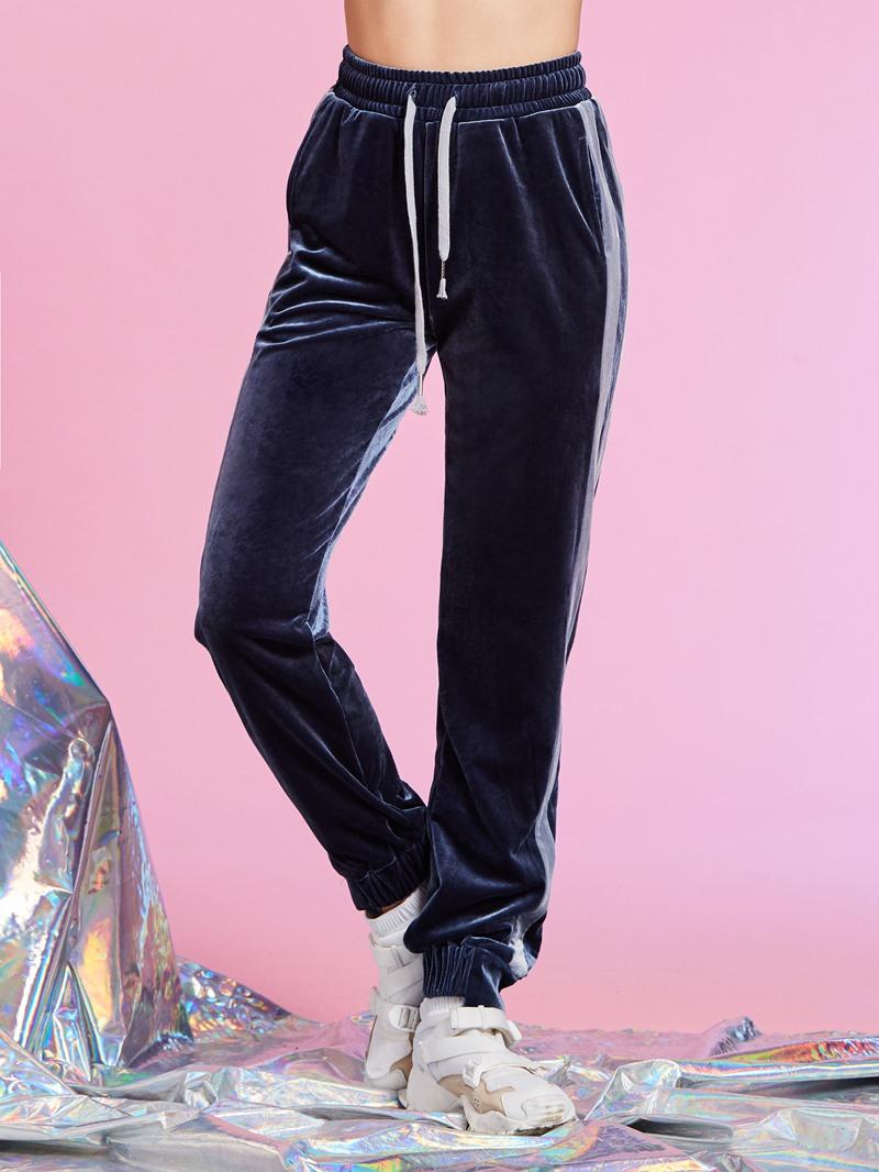 High-Waist Elastics Plain Full Length Women's Pants